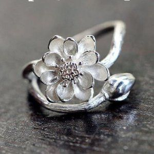 Jewelry - NEW 925 Sterling Silver Lotus Adjustable Ring